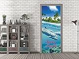 GRAZDesign 791583_67x213 Tür-Bild Spruch Sunny Beach | Aufkleber für Wohnzimmer/Bad | Türfolie Selbstklebend (67x213cm//Cuttermesser)