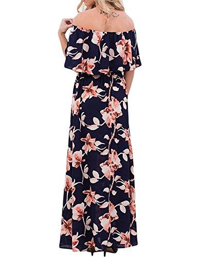 Touchie Damen Sommerkleider Lang Chiffon Blumen Kleider Schulterfreies Maxikleider Strandkleider Boho Beach Kleid Navy Blau