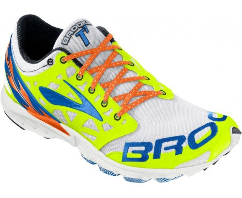 Brooks  T7 Racer, Chaussures de course mixte adulte Bianco (White/Yellow/Blue)