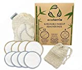 Reusable Make Up Remover Pads - 16 Bamboo Cotton Pads with Laundry Bag - Washable and Eco-Friendly