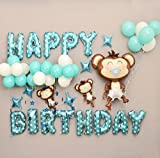 Deko Geburtstag, Geburtstag Buchstaben Luftballons Set, Geburtstagsdeko Ballon und Luftpumpe,Happy Birthday Party Ballons,Bunte Ballons für Geburtstagsfeiern (Blau)