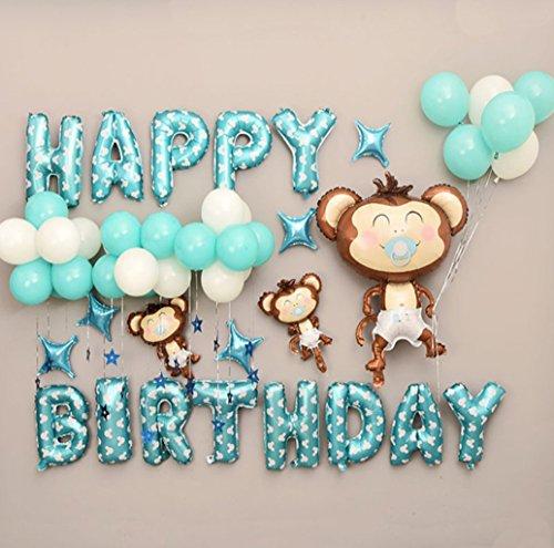 Deko Geburtstag, Geburtstag Buchstaben Luftballons Set, Geburtstagsdeko Ballons,Happy Birthday Party Ballons,Bunte Ballons für Geburtstagsfeiern (Blau)
