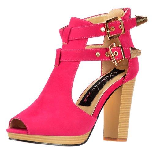 Onlineshoe Frauen Ausgeschnitten Schnallen Peep Toe Heels Knöchel Stiefel Schuhe - Schwarz, Weiß, Pink, Nackt Uk6 - Eu39 - Us8 - Au7 Fuchsia Wildleder (Fuchsia Ausgeschnitten)