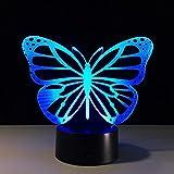 GZXCPC Schmetterlings-3D optische Illusion Tischlampe bunte Touch LED energiesparende Acryl Board ABS Basis kreative Geschenk Nachtlicht