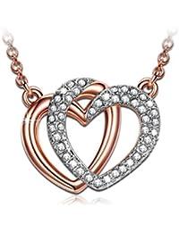 """J.NINA """"Wächter der Liebe"""" rosevergoldete Herz-Kette, mit SWAROVSKI® Steinen. Ein perfektes Geschenk für Mädchen oder Damen"""