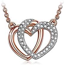 """J.NINA """"Guardian del amor"""" Collar Plateado Oro de Las Mujeres Del Corazón Del Oro, fabricados con cristales SWAROVSKI®. Un regalo perfecto para un gril o una dama"""