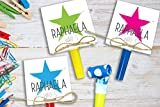6 STÜCK Einladungskarten Kindergeburtstag mit Stern COLOR inkl. Party Tröte