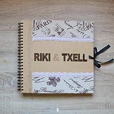 Libro de firmas decorado estilo vintage - rústico para bodas y ocasiones especiales.