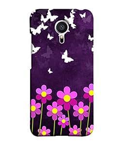 PrintVisa Designer Back Case Cover for Meizu MX5 (Flowers pink white violet purple)