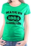 Mister Merchandise Camiseta para Mujer T-Shirt Made in 1964 All original Parts Geburtstag Birthday 50 , Ladies Tee Tamaño: XL, Color: Verde