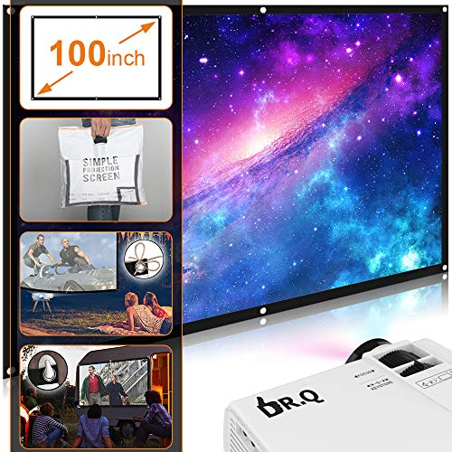 51cC3lI2fqL. SS500  - DR.Q HI-04 Projector with Projection Screen 1080P Full HD and 170'' Display Supported, Upgraded 4500 Lux Video Projector Compatible with TV Stick PS4 HDMI VGA TF AV USB, Home Theater Projector, White