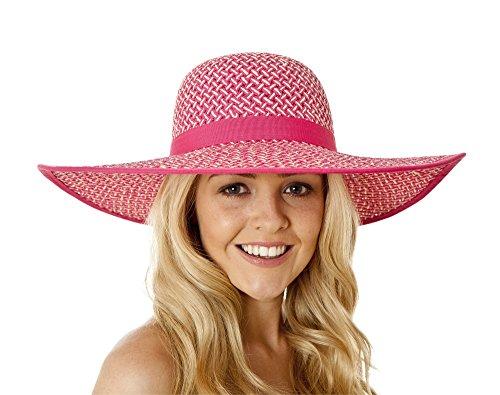 i-Smalls Été Chapeau de Soleil Large Bord avec Bande Design Souple Femme Cerise