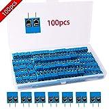 RUNCCI 100 Stücke 5mm 2 Pin PCB Mount Screw Terminal Block Schraubklemme Steckverbinder Blau (300V 15A)