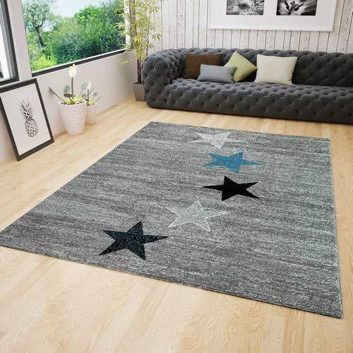 Teppich Modern Jugendstil Schwarz Grau Türkis Kurzflor Stern Muster Pflegeleicht Top Qualität 120x170 cm