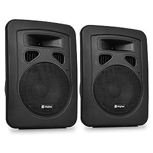Skytec Pack 2 Enceintes Sono DJ PA Subwoofer 20cm ABS