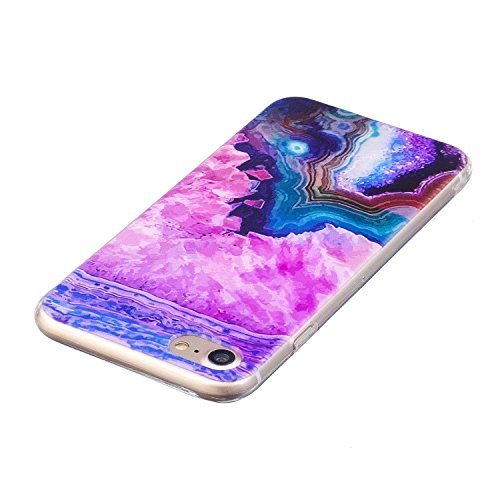Custodia Cover iPhone 7 Silicone Morbido,Ukayfe Ultra Slim Protezione Corpeture Case per iPhone 7 in Gel TPU con Creativo Bella Pittura Disegno Acqua di Mare ,Soft Protettiva Custodia Brillantini Resi Onde 5#