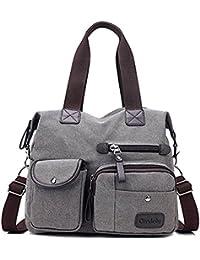 ed14735a283f9 Gindoly Damen Canvas Handtasche Groß Modisch Umhängetasche Multi Tasche  Schultertasche Hobo für Reisen Schule Shopping EINWEG