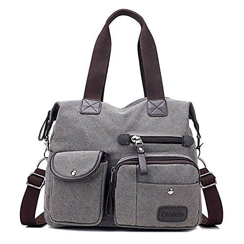 Gindoly Damen Canvas Handtasche Groß Modisch Umhängetasche Multi Tasche Schultertasche Hobo für Reisen Schule Shopping und Arbeit (Grau) EINWEG