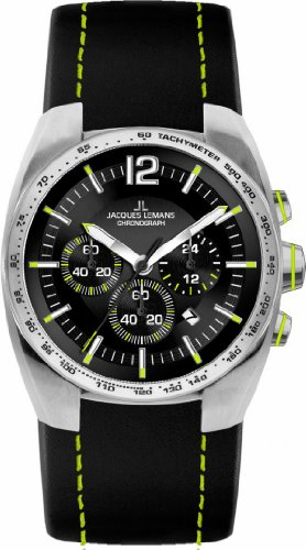 Jacques-Lemans-Powerchrono-11-1-1688F-Mens-Chronograph-Black-Leather-Strap-Watch
