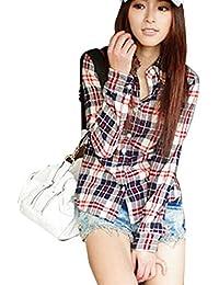 Minetom Mujer Otoño Primavera Patrón De Cuadros Blusa Casual Manga Larga Camisas ...