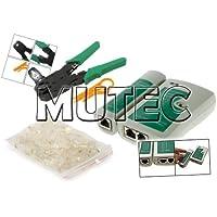 Mutec - kit di strumenti di rete via cavo: Cavo tester + Pinza crimpatrice + 100 connettori RJ45 + cavo spogliarellista