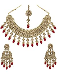 MUCH MORE Fashionable Gold Plated Polki Set With Ruby Drop Necklace Jewellery For Women's