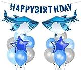 LUCK COLLECTION Requin Splash Party Décorations Shark Mylar Ballons Bannière d'anniversaire pour Shark Birthday Party Supplies...