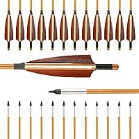 VERY100 12er 32 Zoll Pfeile f�r Bogen Traditional Holzpfeile aus Bambus 2018 mit Alu Gewindevorschneider f�r Broadheads