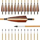 VERY100 12er 32 Zoll Pfeile für Bogen Traditional Holzpfeile aus Bambus 2018 mit Alu Gewindevorschneider für Broadheads