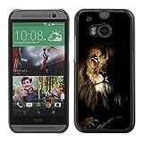 SKCASE Center / Case Cover Handy Schutz Hülle Schale Etui - Natur Mane Roar King Cat - HTC One M8