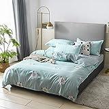 BH-JJSMGS Baumwolle gewaschen Baumwolle vierteilig, Bettbezug, Bettlaken, Kissenbezug, Pure Dream 200 * 230cm