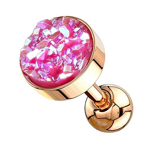 Piersando Tragus Helix Ohr Piercing Cartilage Knorpel Stab Stecker 316 L Chirurgenstahl Stab mit Kristall Glitzer Quarz Rosegold Pink
