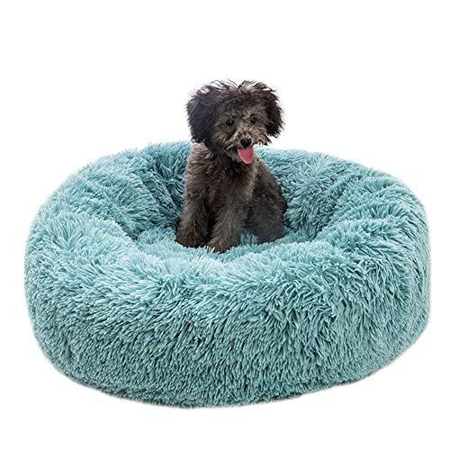 Akeny Plüsch Donut Enge Umarmung Katzen Bett Warm Plüsch Hund Welpen Matte Haustier Bett - Mangel Blau, 50CM -