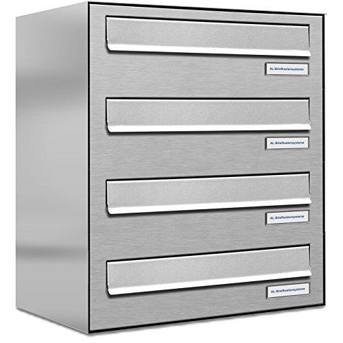 AL Briefkastensysteme 4er Briefkasten für Tür/Zaundurchwurf in V2A Edelstahl, 4 Fach, wetterfeste Premium Briefkastenanlage Design modern