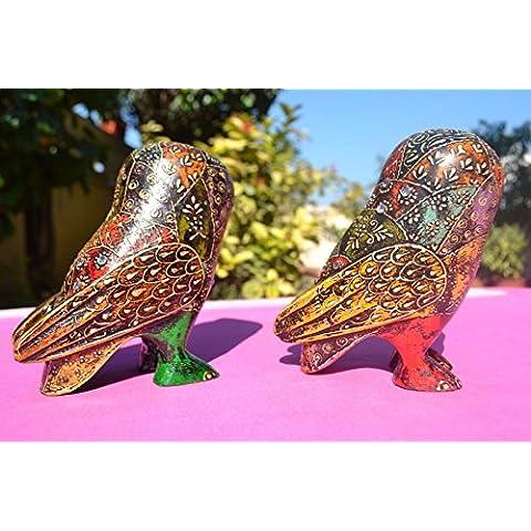 CraftVatika 2Figura de búho vintage Pájaro Miniatura Animal de madera Estatua Escultura de soplado artesanalmente y