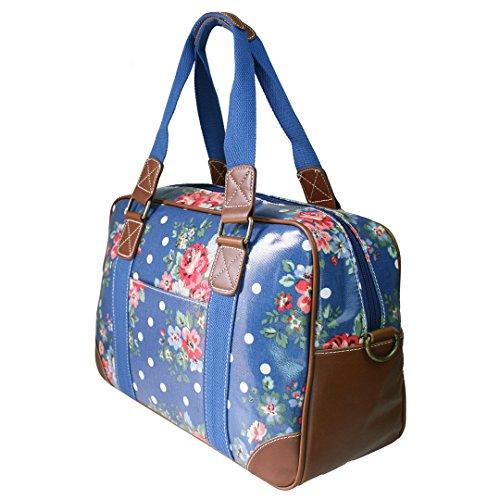 Miss Lulu Damen Wachstuch Handtasche Schultertasche Tasche Handbag Shoulder Bag Gepunktet Eule Blumen Schmetterling Hund Katzen Blumen Dunkelblau