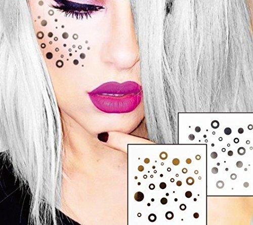 Visage Yeux Tattoo Autocollants Tatouages Temporaires Lot de 2 F04 or et argent pour le visage Glitter Maquillage Effet pour Party Festival Spectacles et Scène de auftritte