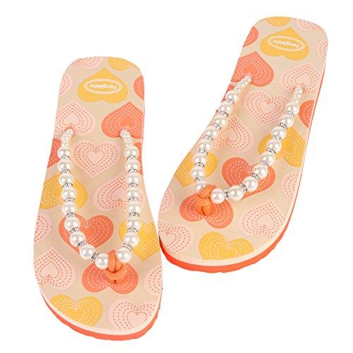 Damara Damen Verziert Perlen Schimmernd Strasssteine Herzförmig Zehentrenner Orange