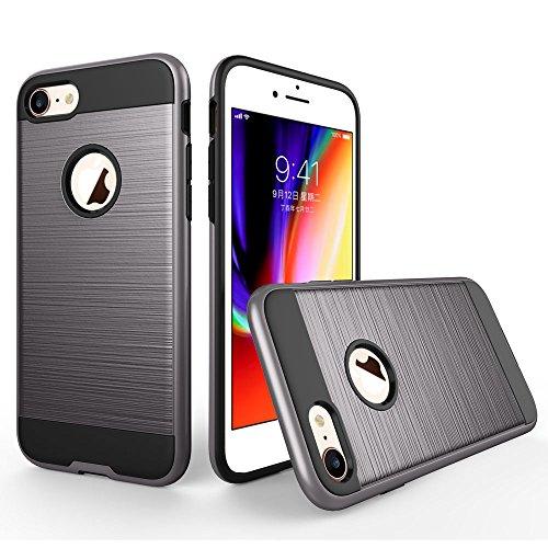 UKDANDANWEI Apple iPhone 8 Hülle,Super Schild Hohe Gel Silikon Haut Slim Fit Zurück Schale Abdecken Schutzhülle Case Cover für Apple iPhone 8 - Rot Grau