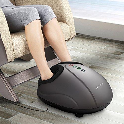 MARNUR Fußmassagegerät mit Stufenlose Shiatsu Massage Kneten Klopf Füße mit Luftkompression Wärme Funktion für Zuhause Büro -