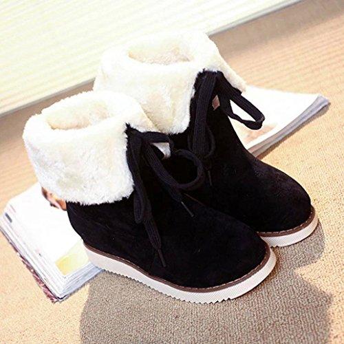 Women Ankle Snow Boots, SOMESUN Stivali invernali peluche Lace-up esterna delle donne Scarpe caviglia caldo scarponi da neve Black