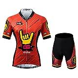 Thriller Rider Sports® Donna Aloha Red Sport e Tempo Libero Abbigliamento Ciclismo Magliette Manica Corta e Pantaloncini Combinazione X-Large