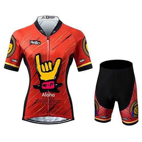 Thriller Rider Sports® Damen Aloha Red Sport & Freizeit MTB Fahrradbekleidung Radtrikot und Kurze Hose Anzüge X-Large (Frau Flugzeug Shirts)