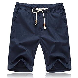 Aiserkly Männer Sommer Leinen Baumwolle Solide Strand Lässige Elastische Taille Classic Fit Shorts Marine 2XL