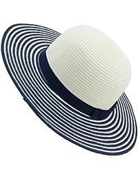 EveryHead Fiebig Sombrero De Papel Niña Gorro Equinácea Verano Moda La Marca Vacaciones Playa A Rayas Para Niños (FI-69780-S18-MA3) Incl Hutfibel