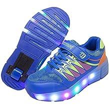 WINNEG Zapatillas con Ruedas, Niños Recargable Led Luz Parpadea Zapatos de Rodillos para Chicos y Chicas