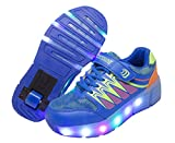 WINNEG Zapatillas con ruedas, Niños Recargable LED Luz Parpadea Zapatos de Rodillos Para Chicos y Chicas (32 EU, Azul)