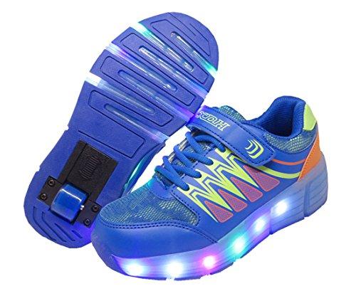 WINNEG Kinder Junge Mädchen Wiederaufladbar Led Schuhe Mit Rollen Skateboard Rollschuhe mit ein Rad (Blau, 28 EU) (Skateboard Kinder Weiß Schuh)