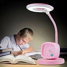 LEDMLSH Los niños aprenden escritorio lámpara de dibujos animados lindo ojo lámpara LED estudiante de escritorio de lectura de estudio cabecera pequeña lámpara de mesa de reloj de alarma para niños y niñas