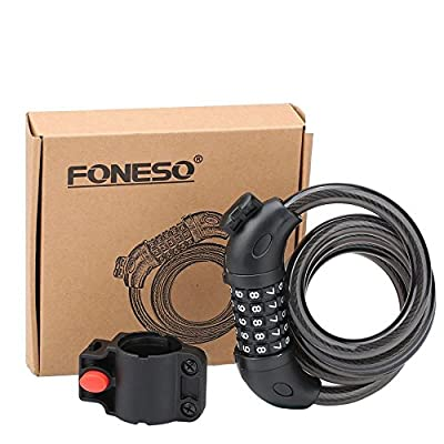Bike Lock,Foneso Security Cable Lock Combination Best for Bicycle Outdoors by Foneso